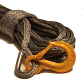 "Gray 1/4"" Synthetic Winch Rope, with HD Excel Sling Hook"