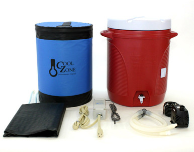 Includes Cool Zone Enclosure, Cooling Jacket with Quick Disconnects, Ranco Two-stage Temperature Controller, Submersible Pump, Silicone Tubing and Fittings and 10-Gallon Water Cooler (Color may vary).