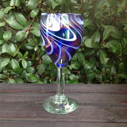 Blue and White Swirl Wine Glass