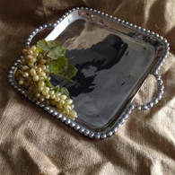 Beaded Handled Square Tray
