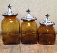 Amber Canister Set shown with Fleur de Lis lids