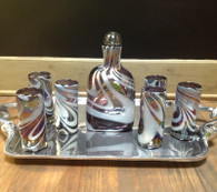 Tequila Set in Purple Metallic with a White Swirl