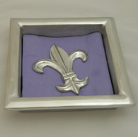 Cocktail napkin holder with fleur de lis weight