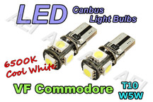 Holden VF Commodore Rego Number Plate Lights White LED Light Bulbs (CANBUS T10 W5W)