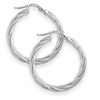1 Inch Sterling Silver Twist Hoop Earrings