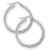 1 Inch Sterling Silver Twist Hoop Earrings