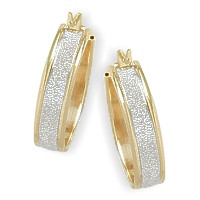 High Polish Two-Toned 7/8 Inch Gold Hoop Earrings