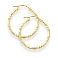 1 3/8 Inch Yellow Gold Hoop Earrings