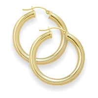 1 Inch Traditional Yellow Thick Gold Hoop Earrings