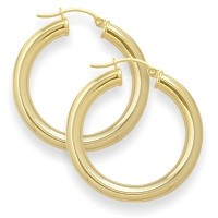 1 2/5 Inch Traditional Yellow Thick Gold Hoop Earrings