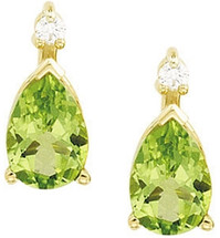 14 Karat Yellow Gold Peridot & Diamond Earrings