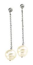 14 Karat White Gold White Pearl Chain Drop Earrings