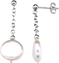 Sterling Silver White Coin Pearl Drop Earrings