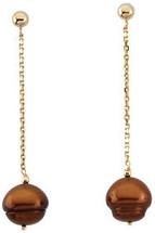 14 Karat Yellow Gold Chocolate Pearl Drop Earrings