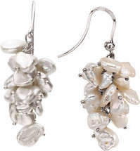 Sterling Silver Keshi White Pearl Cluster Earrings
