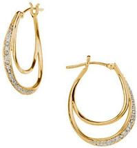 14 Karat Yellow Gold Diamond Hoop Earrings