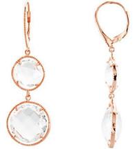 Sterling Silver Rose & Clear Quartz Earrings