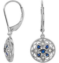 Sterling Silver Sapphire & Diamond Earrings