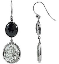 Sterling Silver Onyx & Quartz Earrings