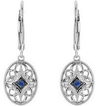 Sterling Silver Sapphire Leverback Earrings