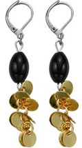 Ladies Stainless Steel Two-Tone Drop Style Earrings