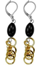 Ladies Two-Tone Stainless Steel Drop Style Earrings