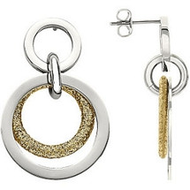 Stainless Steel Gold Glitter Multi Circle Earrings