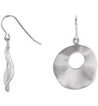 Sterling Silver Round Dangle Hoop Earrings