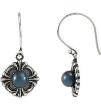 Sterling Silver Victorian Black Pearl Earrings