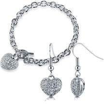 3D Pave Set Heart Earrings and Bracelet Set