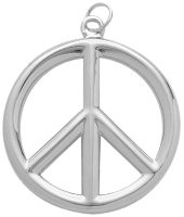 Sterling Silver Large Peace Symbol Pendant
