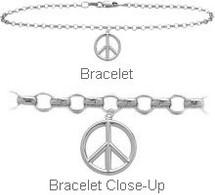 Sterling Silver Peace Symbol Charm Bracelet
