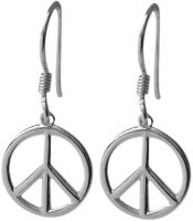 Sterling Silver Peace Symbol Drop Style Earrings