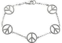 Sterling Silver 5 Peace Symbol Charm Bracelet