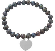 Black Pearl Heart Tag Stretch Bracelet