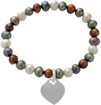 Multi-Color Pearl Heart Tag Stretch Bracelet