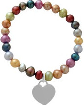 Neon Pearl Heart Tag Stretch Bracelet