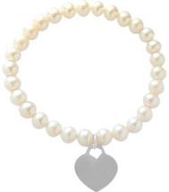 White Pearl Heart Tag Stretch Bracelet