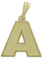 Yellow Gold Block Initial A Pendant