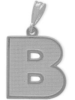 White Gold Block Initial B Pendant