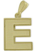 Yellow Gold Block Initial E Pendant