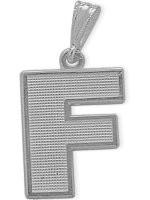 White Gold Block Initial F Pendant