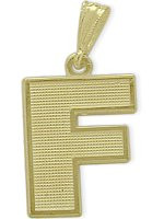 Yellow Gold Block Initial F Pendant