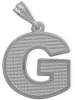 White Gold Block Initial G Pendant