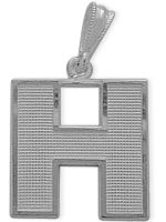 White Gold Block Initial H Pendant
