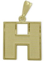 Yellow Gold Block Initial H Pendant