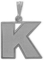 White Gold Block Initial K Pendant