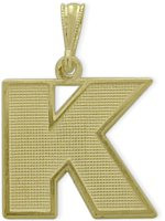 Yellow Gold Block Initial K Pendant
