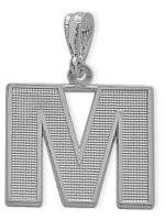 White Gold Block Initial M Pendant