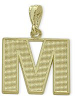 Yellow Gold Block Initial M Pendant